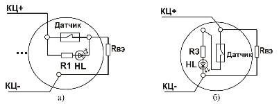 <b>«АСОТ1-СИ»</b><br/>Подключение контролирующих или блокирующих пассивных устройств (а – размыкающих цепь при срабатывании, б – увеличивающих ток в цепи при срабатывании)