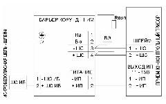 <b>«Барьер Корунд1ИМ»</b><br/>Схема Включение в шлейф общепромышленного ППК типа «СИГНАЛ 2/4-СИ» или аналогичного, имеющего выводы источника питания
