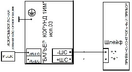 <b>«Барьер Корунд1ИМ» исп.03</b><br/>Схема включения барьера в шлейф общепромышленного прибора