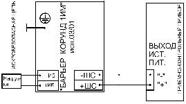 <b>«Барьер Корунд1ИМ» исп.03/01</b><br/>Схема включения барьера в цепь питания нагрузки от общепромышленного прибора