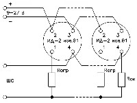 <b>«ИД-2» исп.01</b><br/>Типовая схема включения четырёхпроводных извещателей «ИД-2» исп.01