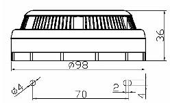<b>«ИД-2» (новый корпус)</b><br/>Габаритные и установочные размеры извещателей