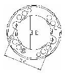 <b>«ИДТ-2» A3 (новый корпус)</b><br/>Вид на розетку с обратной стороны (Заштрихованные области – удаляемые перемычки для прокладки проводов ШС)