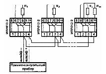 <b>ИПР 513-2 «Агат»ИБ (ИПР-СИ-1ИБ)</b><br/>Пример схемы включения извещателя в шлейф сигнализации приборов серии «КОРУНД-СИ» по варианту, аналогичному пожарным извещателям с замыкающим контактом