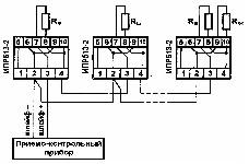 <b>ИПР 513-2 «Агат»ИБ (ИПР-СИ-1ИБ)</b><br/>Пример включения извещателя в шлейф сигнализации приборов серии «КОРУНД-СИ» по варианту, аналогичному пожарным извещателям с размыкающимся контактом.