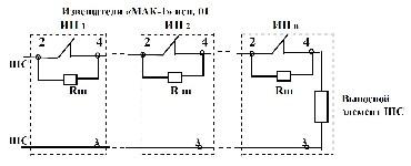 <b>«МАК-1»исп.01(ИБ) ИП103-4/1А2</b><br/>Общая схема подключения с нормально замкнутыми контактами