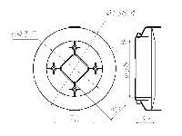 <b>Крепление извещателей в подвесных потолках «УМ-5»</b><br/>Габаритные размеры монтажного модуля УМ-5