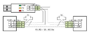 <b>Адаптер USB-RS485</b><br/>Общая схема подключения